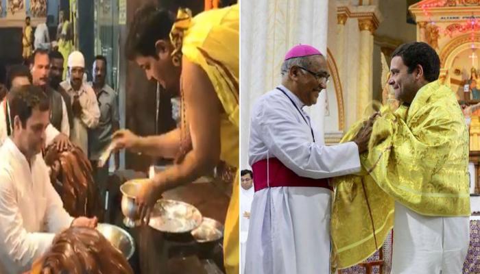 कर्नाटक : राहुल गांधी ने चर्च में की प्रार्थना, मंदिर में टेका मत्था और दरगाह पर चढ़ाई चादर