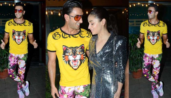 Ranveer Singh and alia Bhatt were all smiles at the wrap up party of Gully Boy