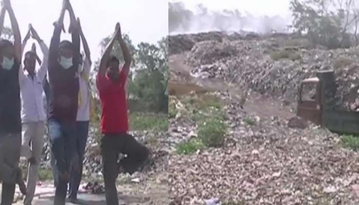 International yoga day: Locals perform #Yoga at a trenching ground near Gola Bypass in Haldwani