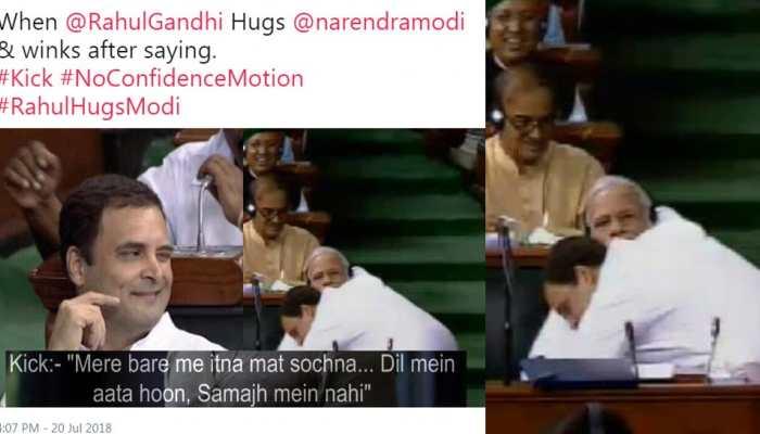 Rahul Gandhi hugs PM Modi, Here are some funny twitter reaction