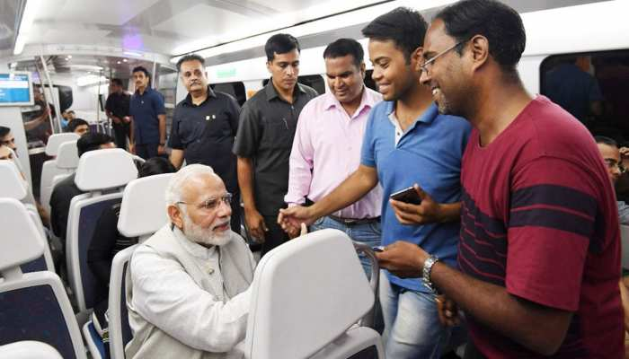 PM Nrendra Modi travels to Delhi Metro from dhaula kuan to Dwarka