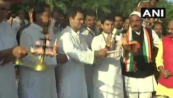 VIDEO : मध्य प्रदेश दौरे पर आए कांग्रेस अध्यक्ष राहुल गांधी ने किया नर्मदा पूजन