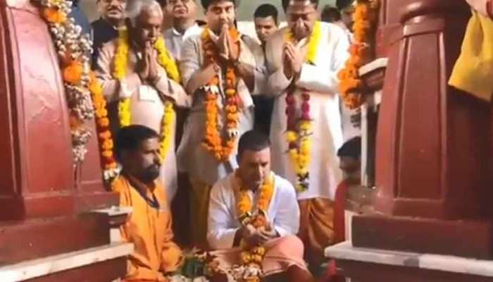 Congress head Rahul gandhi Worshiping in the famous Mother Pitambara Shaktipeeth Temple