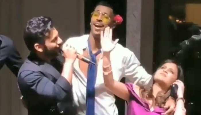 VIDEO: साक्षी की B'day पार्टी के दौरान हार्दिक ने बालों में लगाया गुलाब, गाया चन्ना मेरेया