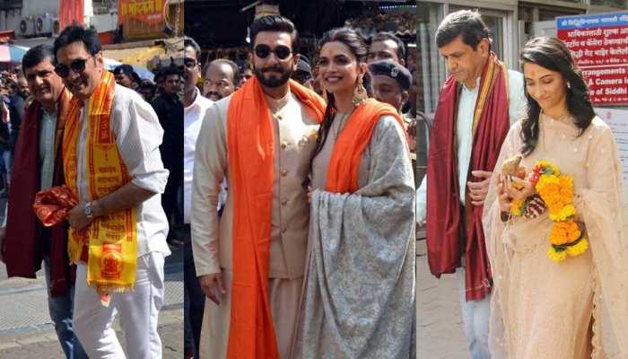 Deepika Padukone Ranveer Singh at Siddhivinayak Temple with their Families Photos
