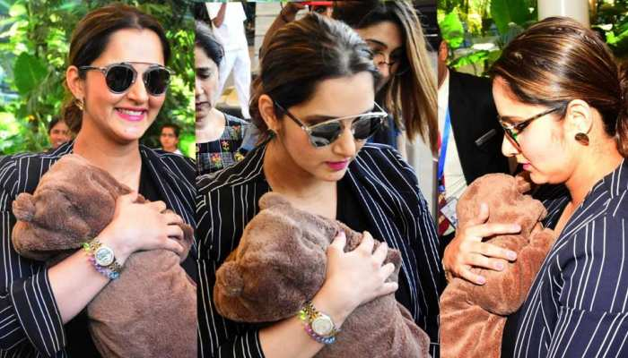 Photos of Sania Mirza spotted with son at airport in cool mom look
